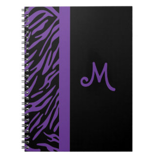 Purple Zebra Stripe Monogram Notebook