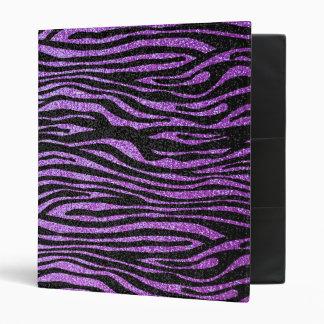 Purple Zebra stripe pattern (faux glitter bling) 3 Ring Binder
