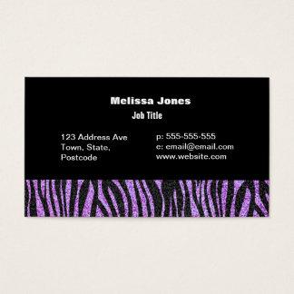 Purple Zebra stripe pattern (faux glitter bling) Business Card