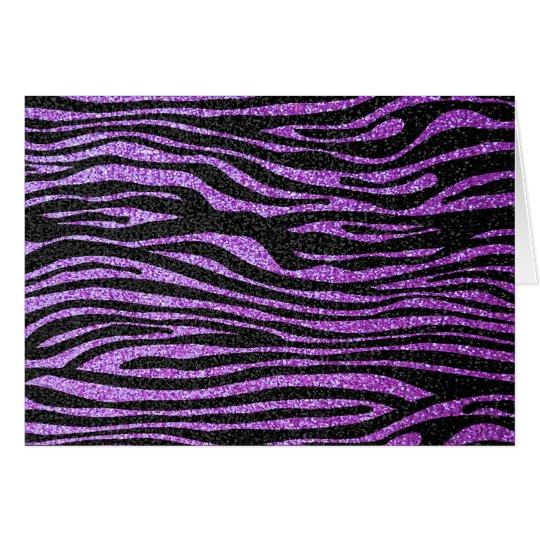 Purple Zebra stripe pattern (faux glitter bling) Card