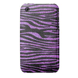 Purple Zebra stripe pattern (faux glitter bling) iPhone 3 Case-Mate Cases
