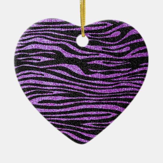 Purple Zebra stripe pattern (faux glitter bling) Ceramic Ornament