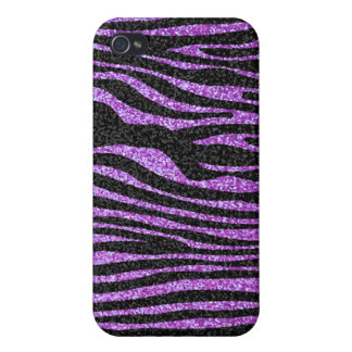 Purple Zebra stripe pattern (faux glitter bling) iPhone 4 Cover
