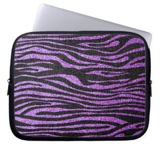 Purple Zebra stripe pattern (faux glitter bling) Laptop Sleeves