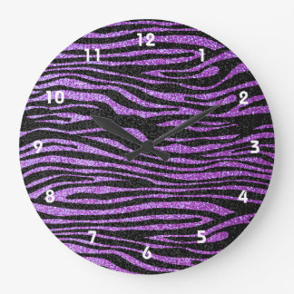Purple Zebra stripe pattern (faux glitter bling) Large Clock