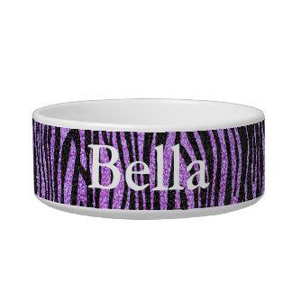 Purple Zebra stripe pattern (faux glitter bling) Pet Food Bowls
