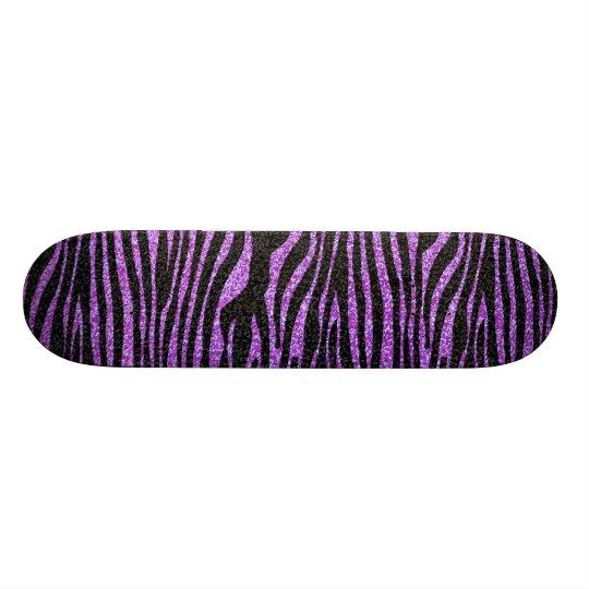 Purple Zebra stripe pattern (faux glitter bling) Skateboard Deck