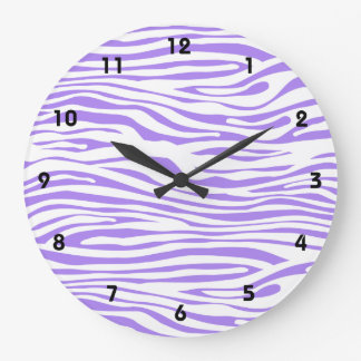 Purple Zebra stripe pattern Large Clock