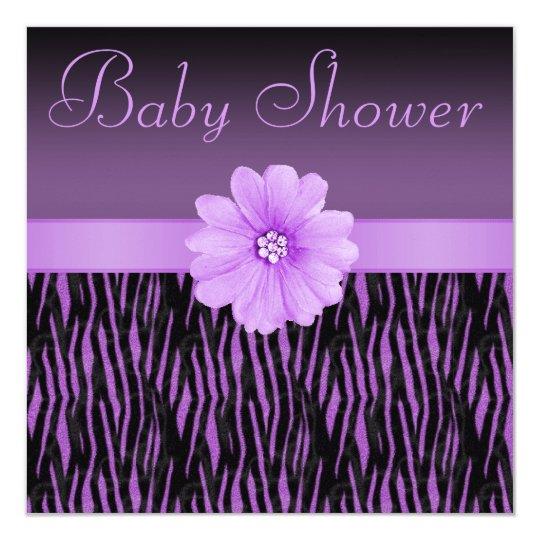 Purple Zebra Stripes & Bling Flower Baby Shower Card