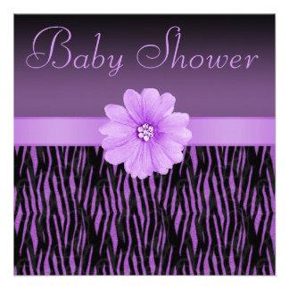 Purple Zebra Stripes & Bling Flower Baby Shower Personalized Invites
