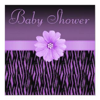 Purple Zebra Stripes & Bling Flower Baby Shower 5.25x5.25 Square Paper Invitation Card