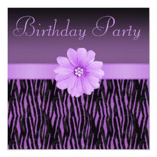 Purple Zebra Stripes Bling Flower Birthday Party Card
