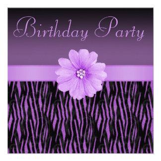 Purple Zebra Stripes Bling Flower Birthday Party Custom Invites