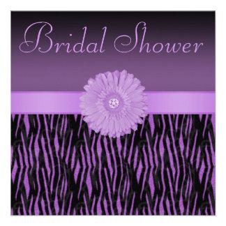 Purple Zebra Stripes Bling Flower Bridal Shower Invitations