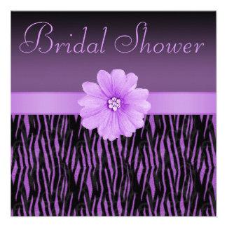 Purple Zebra Stripes Bling Flower Bridal Shower Personalized Announcement