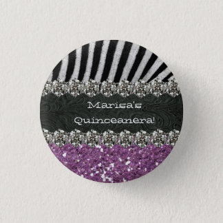 Purple Zebra Stripes Celebration Button