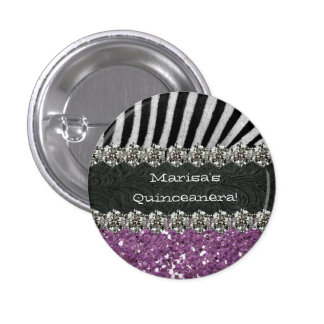 Purple Zebra Stripes Celebration Button