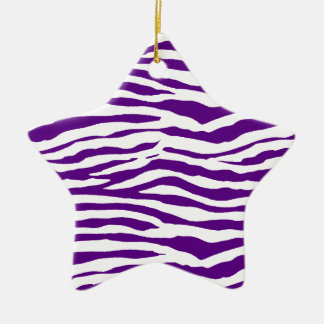 Purple Zebra Stripes Ceramic Ornament
