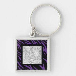 Purple Zebra Stripes Keepsake Photo Keychain