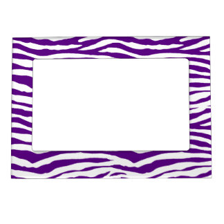 Purple Zebra Stripes Magnetic Picture Frame