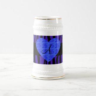 Purple zebra stripes monogram blue roses coffee mugs