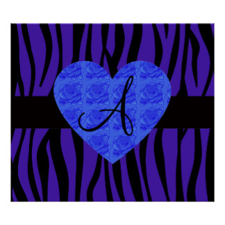 Purple zebra stripes monogram blue roses posters