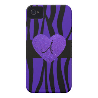 Purple zebra stripes monogram heart Case-Mate iPhone 4 cases