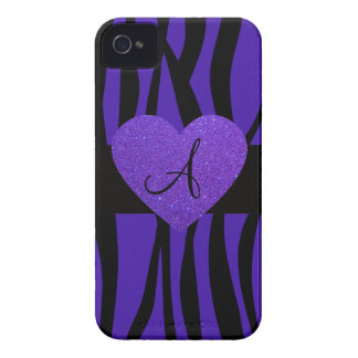 Purple zebra stripes monogram heart iPhone 4 covers
