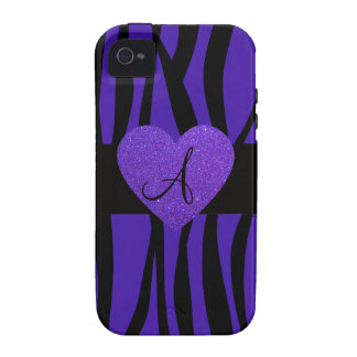 Purple zebra stripes monogram heart iPhone 4/4S cases