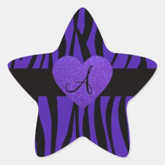Purple zebra stripes monogram heart star sticker