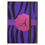 Purple zebra stripes monograms iPad folio case