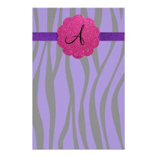 Purple zebra stripes monograms stationery