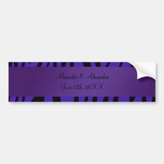 Purple zebra stripes wedding favors bumper stickers