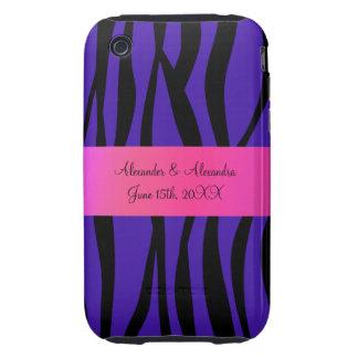 Purple zebra stripes wedding favors iPhone 3 tough cover