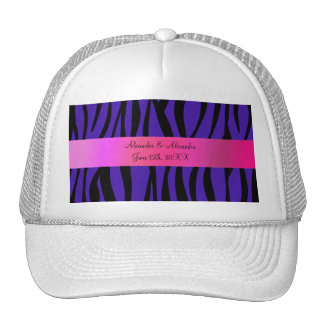 Purple zebra stripes wedding favors hat