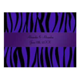 Purple zebra stripes wedding favors postcard