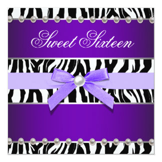 Purple Zebra Sweet 16 Birthday Party Card