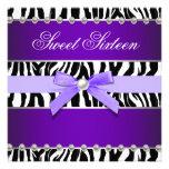 Purple Zebra Sweet 16 Birthday Party Personalized Invitations