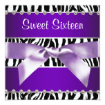 Purple Zebra Sweet 16 Birthday Party Invitations