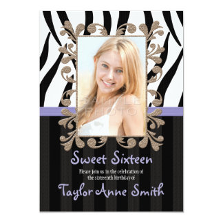 PURPLE Zebra Sweet Sixteen Photo Invitations