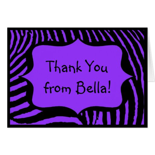 Purple Zebra Thank You Note Card