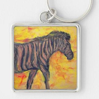 purple zebra upclose keychain
