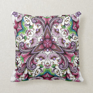 purple Zen-doodled floers and scrolls Throw Pillows