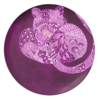Purple Zentangle leopard Plate