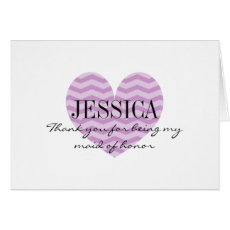 Purple zig zag heart maid of honor thank you card