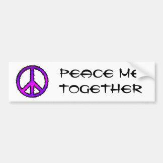 Purple Zig Zag Peace Sign Car Bumper Sticker