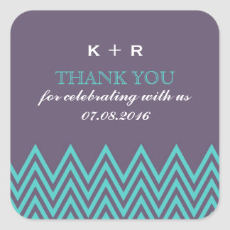 Purple Zigzag Pattern Wedding Favor Stickers