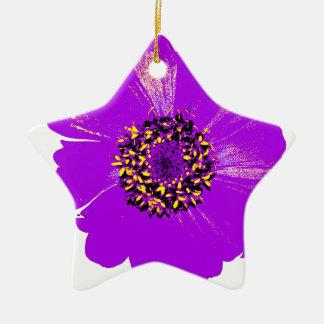 Purple Zinnia Flower Ceramic Ornament