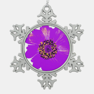 Purple Zinnia Flower Snowflake Pewter Christmas Ornament