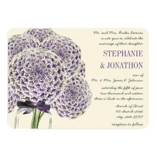 Purple  Zinnia Mason Jar Wild Flower Wedding Card